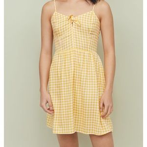 H&M yellow gingham front tie top